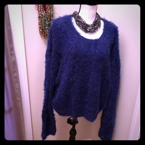Fuzzy Cobalt Blue extended sleeve Sweater